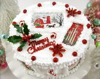 Fake Christmas Cake w/ Vintage Christmas Card Images. Santa/Snowy Sleigh Ride/Boy's Choir/Santa & Sleigh, Ornies