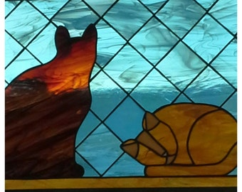 two cat stained glass window