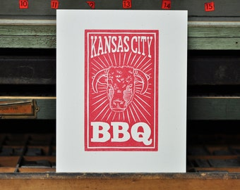 Kansas City BBQ [Barbecue] Letterpress Linocut Print
