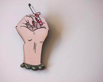 Twin Peaks Cigarette Hand Laser Cut Wood Brooch