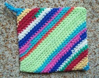 Magic Crochet Pot Holder, Trivet, Hot Pad, Single, Cotton Yarn, Multicolor, Rainbow Colors, Bohemian Style