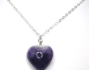 SALE, Genuine Amethyst Heart Pendant, Natural Purple Gemstone, Sterling Silver Chain, Valentines Gift For Her, Gift Wrapped, Ready To Ship