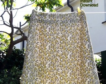 Spring to Summer A Line Skirt PDF Sewing pattern 8 - 20 (UK sizes) gently flared from band reaches just past knee