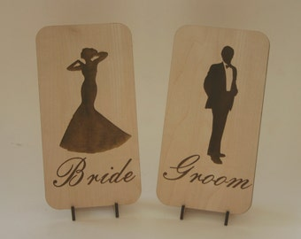 Bride and Groom Engraved Wood Cards Maple Place Settings with stand