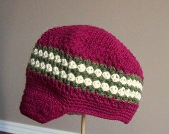 Newsboy Hat Crocheted Boys Toddler Burgundy, Ivory, Chocolate, Army Green Visor Beanie Skater Hat