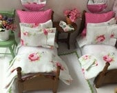 Miniature Dollhouse Twin Beds with Complete Bedding Sets in Cottage Whites with Roses 1:12 Scale