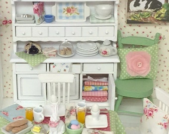 Sale-Easter Brunch Table and 2 Chairs in Miniature 1:12 scale