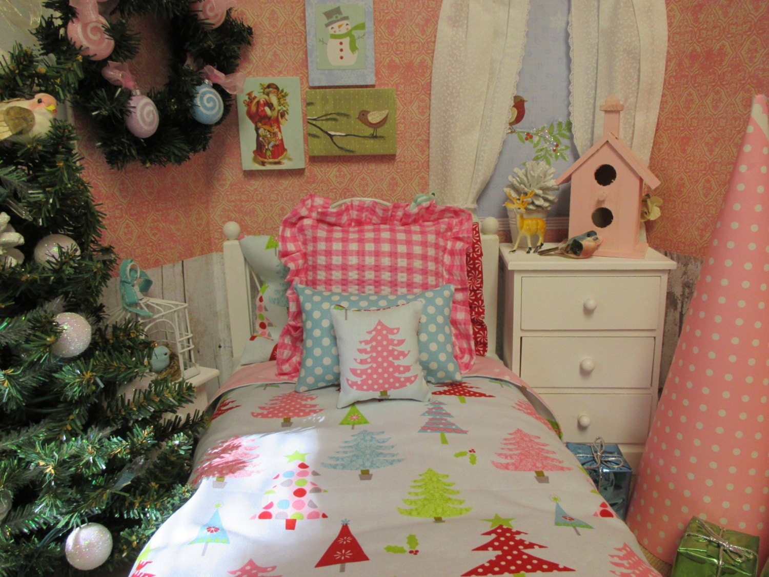 american girl doll christmas bedding set18 inch doll bed size