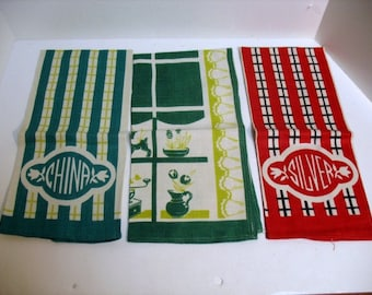 Set of 3 Vintage House Window China Silver Themed Tea Towels Bar ware Kitchen Towels Mid Century