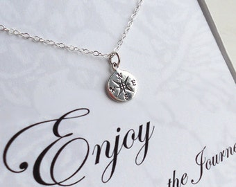 Compass Necklace, Sterling Silver Compass, Enjoy the Journey, Graduation Graduate Gift Class of 2015 with Card Gift Box Set