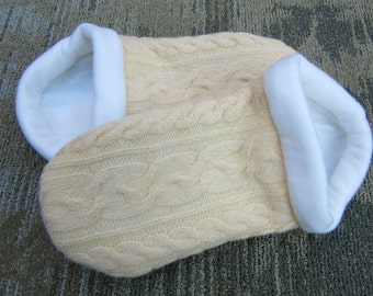 Yellow Cable Knit Sweater Slippers with Cream Lining - Wm X -Extra Large