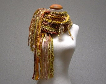sunflower. chunky knit scarf . handknit fiber art scarf . rustic bohemian warm winter scarf . yellow ochre gold honey mustard amber