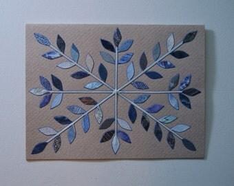 Blue Frost Snowflake Crystal Note Card, Original Hand Cut Vintage Wallpaper, Silver Blue, OOAK, Unique Applique Petals, Scandinavian Modern