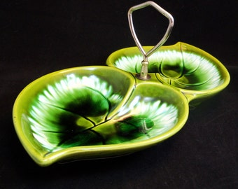 SALE - Last Chance - Stunning Vintage Green Double Leaf Serving Dish
