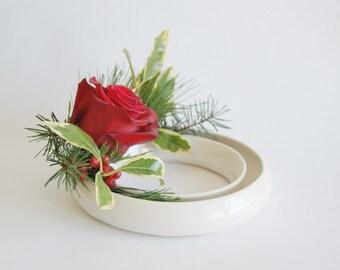 White Floral Ring - Porcelain Floral Ring - Ceramic Floral Ring - Handmade Floral Ring - Mothers Day Gift