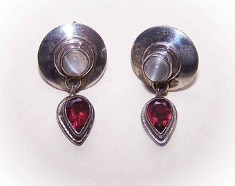 Sterling Earrings, Silver Earrings, SAJEN, Sajen Sterling Silver, Sajen Earrings, Moonstone Earrings, Garnet Earrings, Drop Earrings