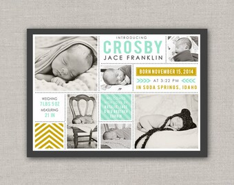 Baby Boy Birth Announcement - Crosby