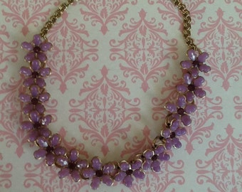 Vintage Lavender Rhinestone and Lucite Floral Necklace with extender jewelry mad men era