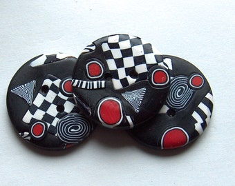 Handcrafted, Black, White and Red Round  Buttons Stripe Checker Polymer Clay No.46