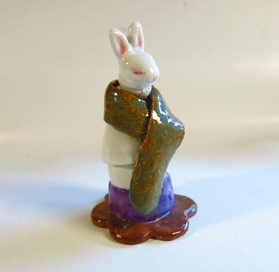 Miniature Bunny Sculpture Vessel, Ceramic White Rabbit Zoomorphic Jar, Ready to Ship