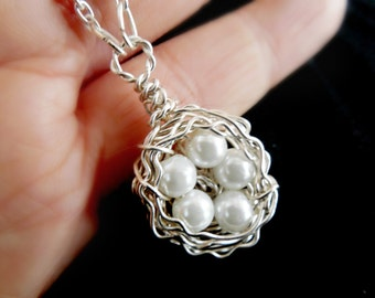Five Egg Bird Nest Pearl Wire Wrapped Sterling Silver Mother Gift Birdnest Bridesmaid KarmaBeads Stamped