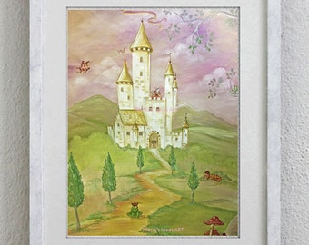 Castle art, Princess castle, Princess room wall art, Frog prince, nursery wall art, PINK ROOM