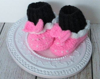 Baby Crochet Boots Christmas Booties Minnie Mouse Boots Shoes Infant Boots Pull on Shoes