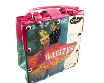 Small clutch handbag from Vintage Vinyl Dance Record