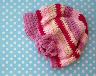 Pink Boho Hat, Woman's Slouchy Beanie, Hippie Hat with Flower