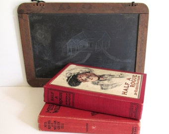 Antique Novels 1900's Red Book Covers Home Decor Library