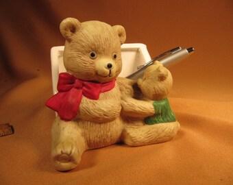 DESK ACCESSORY, Teddy Bear Desk Accessory made of Pottery, Pottery Teddy Bear with baby Desk accessory, Ceramic Teddy Bear Desk accessory