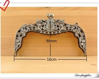 6 1/2 inch Vintage Gunmetal purse frame  (with  rhinestone ) purse making supplies Z73