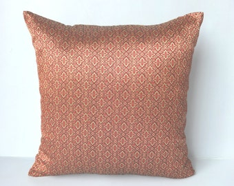 Maroon and gold Brocade Decorative Pillow Covers festive pillow  - 18 x18 inch