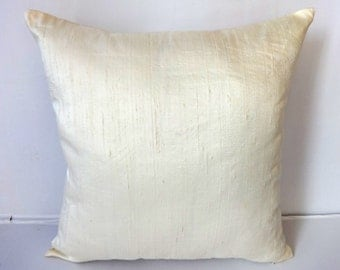 Cream dupioni silk cushion cover and throw pillow 18 inch- 2 in stock ready  to  ship