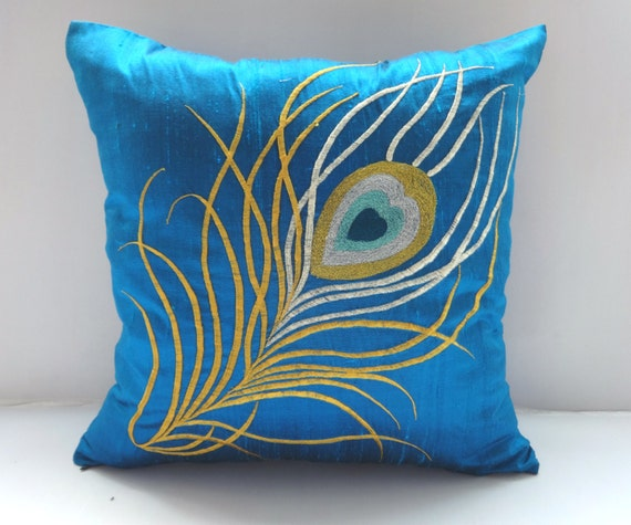 teal blue peacock pillow cover 16 inch peacock feather pillow case