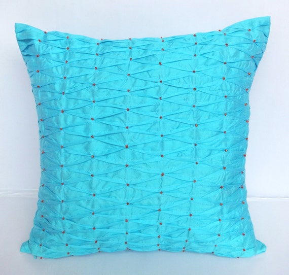 Light Blue Silk Throw Pillow : Light Blue silk throw pillow with pintucks and beadwork 18X18