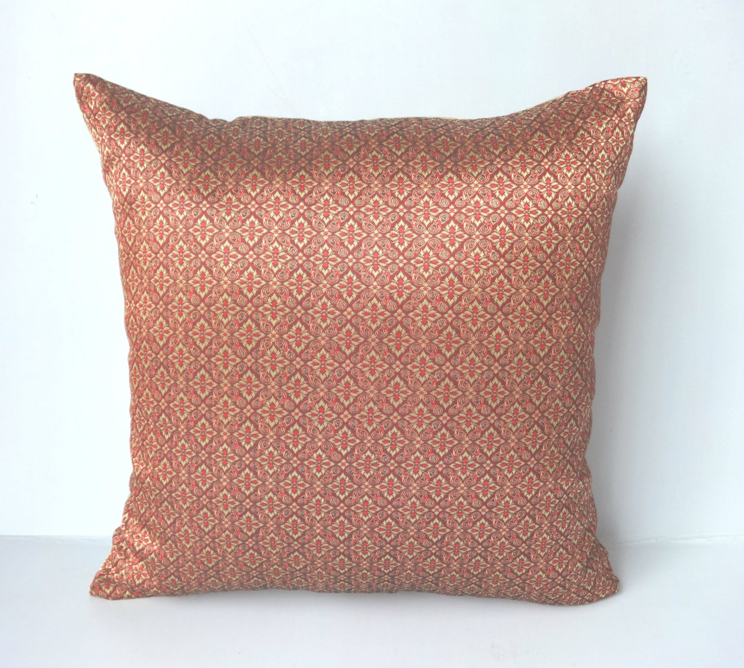 Maroon and gold Brocade Decorative Pillow Covers festive