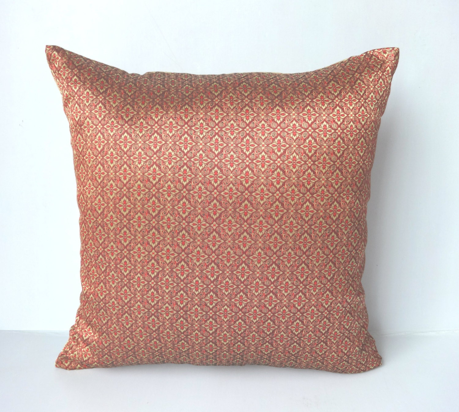 Throw Pillows Maroon : Maroon and gold Brocade Decorative Pillow Covers festive