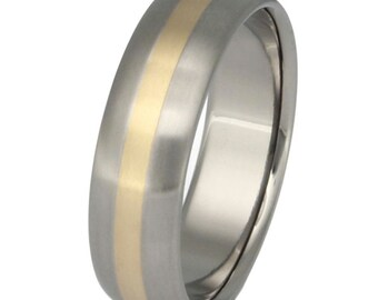 Gold Titanium Wedding Band - Gold Ring - Custom Ring - g3