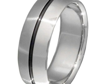 Black Titanium Wedding Band  - Black Stirped Ring - bk6