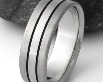 Titanium Wedding Band, Black Titanium Ring, Mans Wedding Band, Womans Ring, Handcrafted Titanium - bk30
