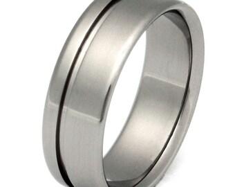 Titanium Wedding Band - Striped Ring - n2
