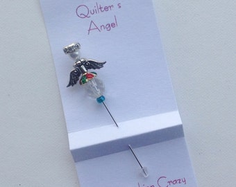 Harlequin Angel Stick Pin - A Quilter's Angel - Decorative Sewing Pin - Scrapbooking Pin - Cardmaking Pin - Quilter Gift - Angel Stick Pin