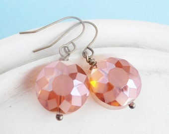 Sunrise Orange Faceted Crystal Earrings