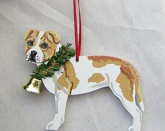 Hand-Painted PITBULL TERRIER Wht/TAN Wood Christmas Ornament...Artist Original, Christmas Tree Ornament Decoration