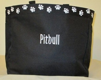 Pitbull Tote Bag, Carrier, Personalized, Embroidered