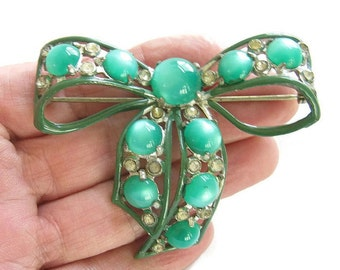 Vintage Pot Metal Green Enamel and Moonglow with Rhinestones Art Deco BOW Brooch or Pin