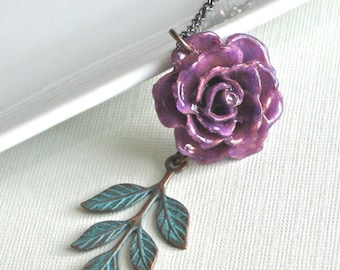 Purple Real Rose Necklace - Flower Jewelry, Natural Preserved, Nature Jewelry