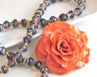 Large Real Rose Necklace - Orange, Flower Necklace, Real Flower Jewelry, Nature Jewelry, Statement Necklace