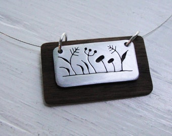 Weeds Rectangular Cutout Neckwire Necklace in Walnut Wood -- Modern Woods